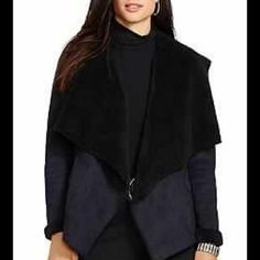 NWT Ralph Lauren Faux Shearling Jacket NWT Lauren Ralph Lauren faux shearling drape front jacket in petite extra small. Shearling lined and sueded outside. Approximately 23.5 inches total length. Material 100% polyester Ralph Lauren Jackets & Coats Blazers