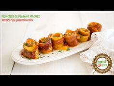 Piononos de Plátanos Maduros - Recipe & Video (Ripe Plantain Rolls): Salty cheese and ham comes to a pretty awesome pairing when rolled up in the sweeter ripe plantain broiled to caramelized perfection Gluten Free Appetizers, Appetizer Recipes, Platanos Maduros Recipe, Ripe Plantain, Boricua Recipes, Good Food, Yummy Food, Colombian Food, Caribbean Recipes