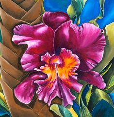 Art Painting Contemporary Painting Orchid by NickySpauldingArt