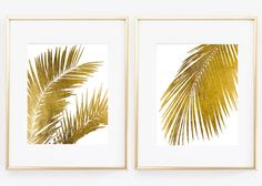 Set of two Real Gold Foil Palm Tree Leaf Palnt by Artlantida
