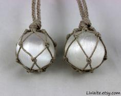 Selenite Crystal Ball Hemp Wrapped Healing Necklaces https://www.etsy.com/shop/LWaite