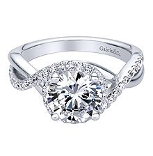 14kt white gold contemporary criss cross  engagement ring by Gabriel & Co