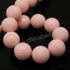 Gemstone Beads, Imit. Light Pink Coral, Faceted round, Approx 20mm, Hole: Approx 1.2mm, 20pcs per strand, Sold by strands