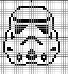 Geekie Crafts: Storm Trooper Cross Stitch - can be used for filet crochet Cross Stitching, Cross Stitch Embroidery, Embroidery Patterns, Cross Stitch Patterns, Star Wars Quilt, Star Wars Crochet, Crochet Stars, Crochet Pillow, Tapestry Crochet