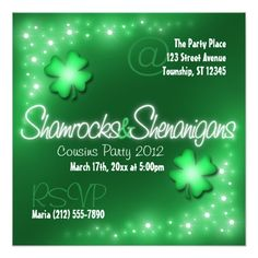 Lucky Lights - Shamrocks & Shenanigans Invitations