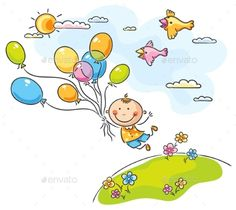 Buy Flying with the Balloons by katya_dav on GraphicRiver. Flying with the balloons, no gradients Art Drawings For Kids, Drawing For Kids, Art For Kids, Kites Craft, Baby Posters, Quilled Paper Art, Cartoon Sketches, The Balloon, Simple Art