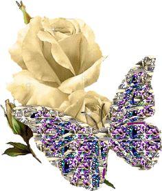 Mariposa brillante con rosas blancas - Mariposas imagen #4297 para Facebook, Twitter, Pinterest, Whatsapp & Google+.