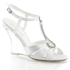 Fabulicious LOVELY420 womens White SatinClear Sandals Size  9 *** Click image to review more details.