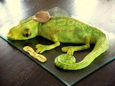 Lizard cake Reptiles, Lizard Cake, Sugar Art, Dinosaur Stuffed Animal, Toys, Animals, Activity Toys, Animales, Animaux