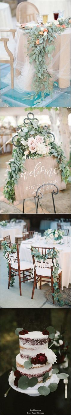 Eucalyptus green wedding color - can't have eucalyptus, but like the way the garland of leaves cascades off the table with the bridal illusion Reception Table, Wedding Table, Diy Wedding, Rustic Wedding, Wedding Day, Wedding 2017, Reception Ideas, Wedding Dreams, Wedding Bells