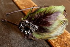 Green and Black Feather Headband by stcyr2 on Etsy, $16.95