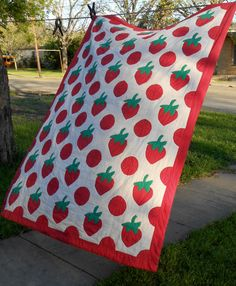 Vintage Hand Quilted Applique Strawberry Quilt on Etsy, $135.00