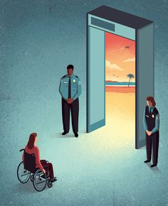 Davide Bonazzi - Traveling with disabilities. Client: The Boston Globe. #conceptual #illustration #editorial