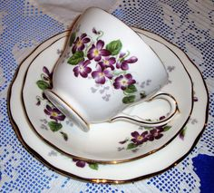 DUCHESS China Tea Cup And Saucer VIOLETTA VICTORIAN Violets From England's Countryside by AsFarAsVintage on Etsy