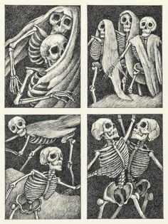 """ARNOLD LOBEL. """"Dance of the Thirteen Skeletons."""" Original illustration for page 36 of """"Nightmares: Poems to Trouble Your Sleep"""" by Jack Prelutsky, published by Greenwillow Books in 1976. Pen and ink on thick paper. 6 1/2x4 3/4 inches, on 14 1/2x11 1/4"""