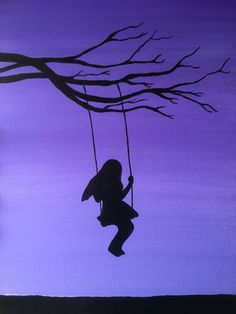Girl on Swing Painting Swinging Tree Silhouette Handmade on Canvas