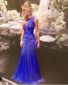 Prom dress, bridesmaid dress, royal blue prom dress new arrival lace mermaid prom women's fashion