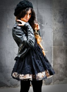 chic rocker- floral swing skirt with black  and a leather jacket