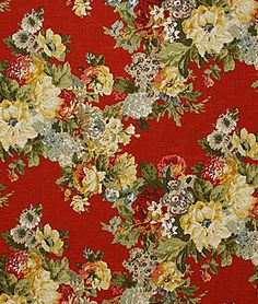 Beverlyglen Campari by Pindler Floral Upholstery Fabric, Floral Fabric, Traditional Drapery Fabric, Victorian Fabric, Textiles, Red Fabric, Decoration, Vintage Prints, Fabric Patterns
