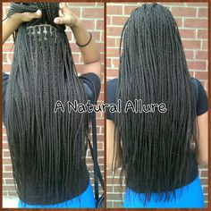 Waist-length box braids using 5 packs of X-pression braidibg hair in color #4. www.anaturalallure.com/