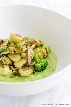 Roasted Vegetables with Broccoli Puree is a medly of roasted brussels sprouts, mushroom and asparagus that is blended with a creamy broccoli puree. Gluten Free, healthy, delicious and easy   ahealthylifeforme.com