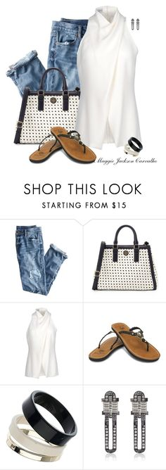 """""""White Blouse, Jeans and Flip Flops"""" by maggie-jackson-carvalho ❤ liked on Polyvore featuring J.Crew, Tory Burch, Alberta Ferretti, Ocean Minded, Dorothy Perkins and Lanvin"""