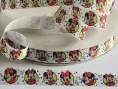 "Minnie Mouse Ribbon 5 yards of 7/8"" White Grosgrain Ribbon with Disney's Minnie and Polka Dots For Hair Bow Party Favor Tie Minnies Bowtique by HouseofHairDecor on Etsy"