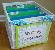 Teacher Organization With Supply Labels - Free Writing Portfolio Label . Make over summer and have kids file writings Portfolio Kindergarten, Kindergarten Writing, Teaching Writing, Kindergarten Classroom, School Classroom, Classroom Decor, Classroom Libraries, Classroom Procedures, Music Classroom