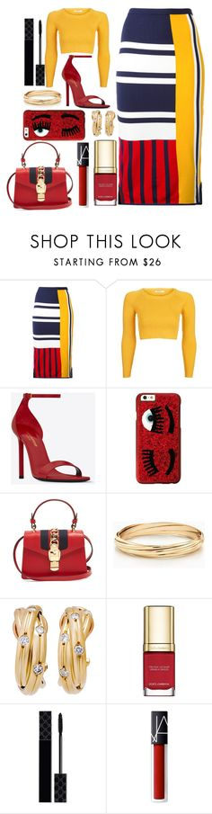 """Tommy Hilfiger Skirt"" by pulseofthematter ❤ liked on Polyvore featuring Tommy Hilfiger, Topshop, Yves Saint Laurent, Chiara Ferragni, Gucci, Dolce&Gabbana and NARS Cosmetics"