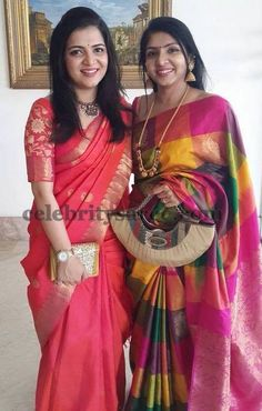 Left: Anchor Divyadarshini wearing red and orange colors combination silk saree with gold sari border, Floral theme rich blouse with elbo. Silk Saree Blouse Designs, Saree Blouse Patterns, Bridal Blouse Designs, Skirt Patterns, Coat Patterns, Clothes Patterns, Sewing Patterns, South Indian Sarees, Indian Silk Sarees