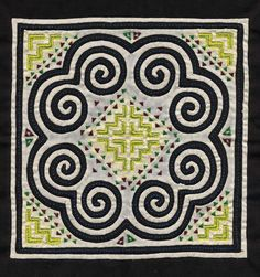 Hmong reverse applique, 1980s: The main motif utilized is the elephant's foot. Within it is a mirrored step motif repeated four times, creating a house motif.