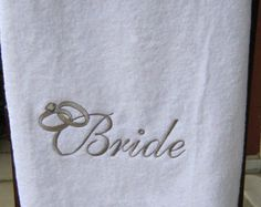 Towel embroidery for your Wedding! igniteimaging.com