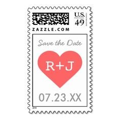 Save the Date Heart Monogram Stamps
