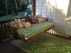 If you have a garden, backyard or front, if you have an empty porch or patio, why not have a swing and colored mattresses decorated with a ...