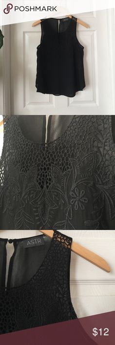🐝Clearance🐝Nordstrom Sheer Top ASTR brand from Nordstrom. Black sheer fabric with embroidery details along neckline. Small hole on bottom right side. Size Small Astr Tops