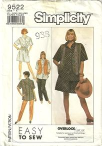 Simplicity 9522 Womens Pants Oversized Shirt & Vest Culottes Sewing Pattern All Sizes 6-26