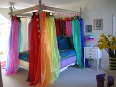My girls would love these rainbow sheers for their Rainbow Bedroom