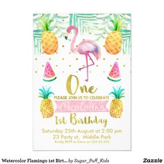 Shop Watercolor Flamingo Birthday Invitation created by Sugar_Puff_Kids. Personalize it with photos & text or purchase as is! 11th Birthday, 1st Birthday Girls, First Birthday Parties, Flamingo Baby Shower, Flamingo Birthday, 1st Birthday Invitations Girl, Birthday Cards, Birthday Gifts, Invitation Baby Shower