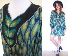Vintage 70's peacock shirt dress hippie boho by RebelCloset