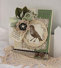 Shabby Chic Handmade Card Green Bird Friends
