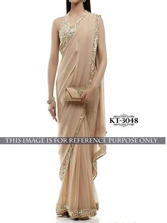 buy saree online Beige Colour 60 Gm Georgette Designer Inspired Saree Buy Saree…