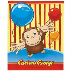 """Curious George Treat Bags, 8ct by Unique Industries, Inc.. $3.30. 8 LOOT BAGS. Each package of Curious George Treat Bags contains 8 colorful plastic bags with cutout handles measuring 7"""" x 9"""". The bags feature Curious George playfully throwing balloons in the air and are great for holding bunches of bananas or party favors."""