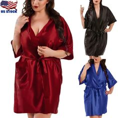 e1a97be9bb Women s Silk Satin Robe Bride Bridesmaid Dress Wedding Kimono Bathrobe  Sleepwear  Bathrobe  Bride  Bridesmaid  Dress  Kimono  men sactivewear  men sjeans  ...