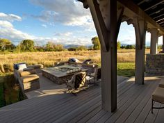 Dreamy Deck At HGTV Dream Home the entertainment deck features a spa with a view of Utahs wide-open spaces. 20 Ways to Create Instant Shade for Your Outdoor Room Outdoor Rooms, Outdoor Living, Outdoor Decor, Outdoor Ideas, Outdoor Seating, Traditional Fire Pits, Design Patio, Garden Design, Deck Pictures