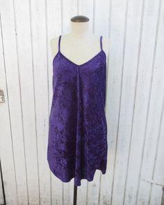 Vintage 90's Purple Velvet LIngerie Dress Large by kerrilendo, $22.00