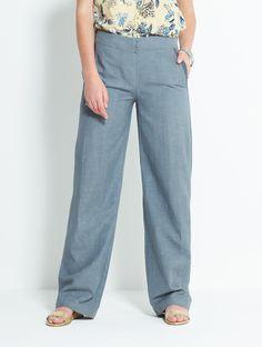 Plain Cotton Trousers Silver