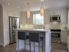 Decor Wood Kitchens offers all designs in fine custom cabinetry. With over 30 years experience in Kitchen and Bath design. Transitional Kitchen, Transitional Style, Kitchen And Bath Design, Kitchen White, Custom Cabinetry, Kitchen Styling, White Paints, All Design, Doors