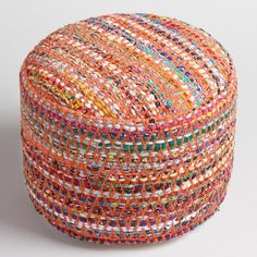 Multi-Color Round Chindi Pouf - v1