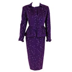 1940's Lilli-Ann Royal Purple Deco Flecked-Wool Hourglass Suit | From a collection of rare vintage suits, outfits and ensembles at http://www.1stdibs.com/fashion/clothing/suits-outfits-ensembles/