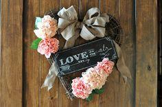 Little Birdie Secrets: valentine's heart wreath & chalkboard art {tutorial}.  A little cheesy, but it's got merit.